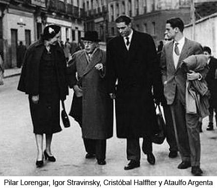 Pilar Lorengar, Igor Stravinsky, Cristóbal Halffter y Ataulfo Argenta2