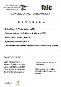 Cartel concierto Faic 15