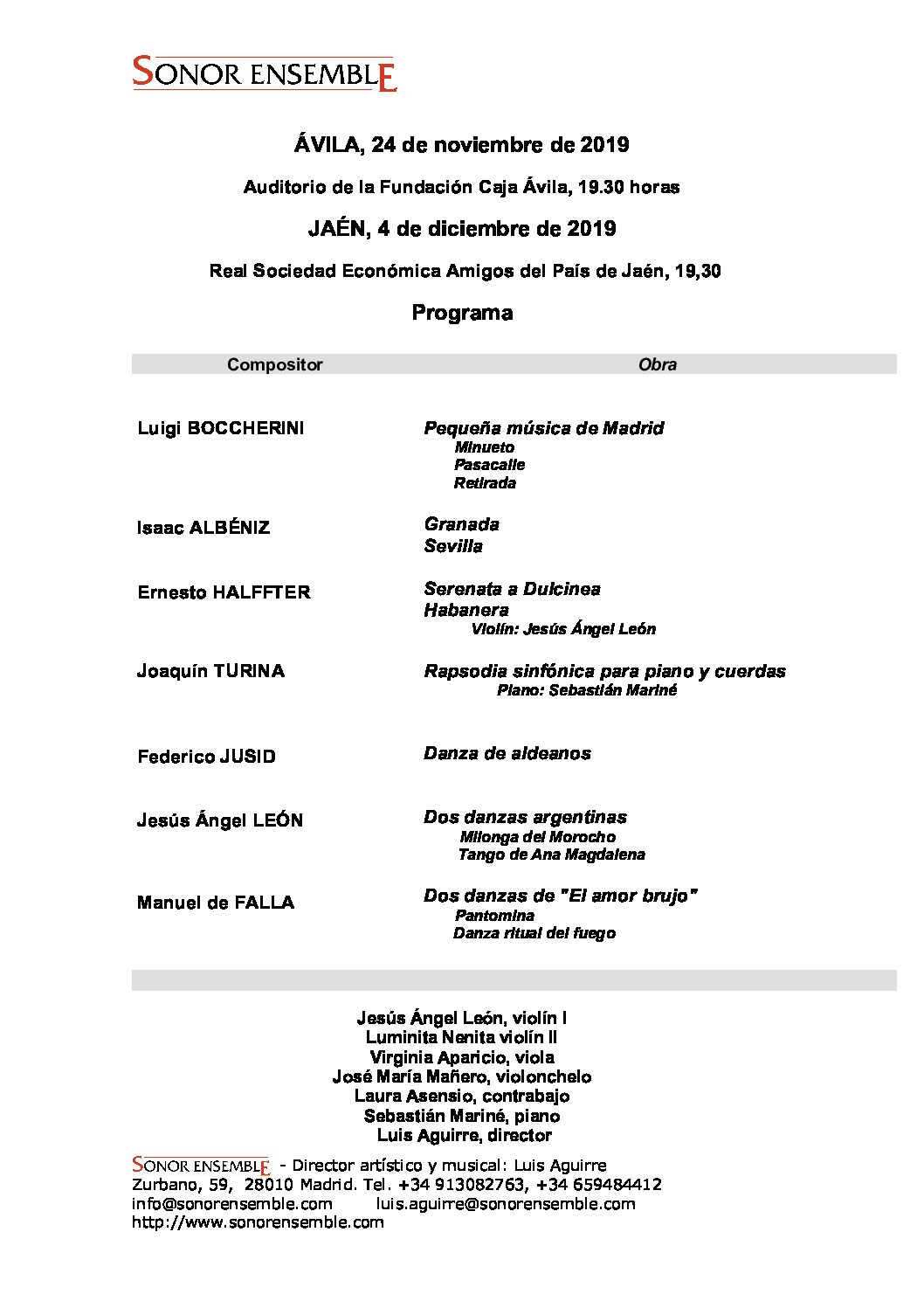 Sonor Ensemble lleva obras de Jusid y León a Ávila y Jaén